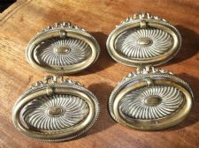 4 X GENUINE OLD GEORGIAN ? OVAL SOLID BRASS DRAWER HANDLES ORNATE WITH RING PULL